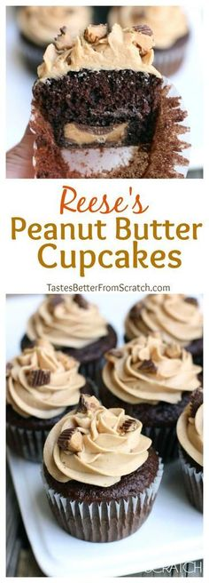 Chocolate cupcakes with peanut butter frosting and a Reese's chocolate baked in the center. | tastesbetterfromscratch.com