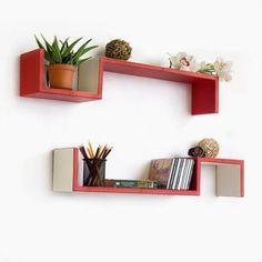 Trista - [Venetian Red] S-Shaped Leather Wall Shelf / Bookshelf / Floating Shelf (Set of 2)