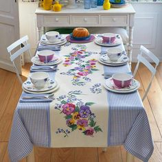 Ivory and lavender chequered cotton tablecloth with simple hem and ivory aida central insert to be cross-stitched. Deco Table, Decoration Table, Table Covers, Table Linens, Cross Stitching, Table Runners, Tablescapes, Hand Embroidery, Embroidery Patterns
