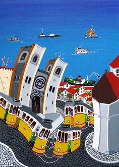 Allarts Gallery – Galeria Internacional de Arte Naïf e Figurativa de Lisboa - foi criada com o objectivo de encorajar e promover o con. Lisbon Tram, Portuguese Culture, Poster Ads, Great Paintings, Portugal Travel, Naive Art, Vintage Travel Posters, Culture Travel, Home Art