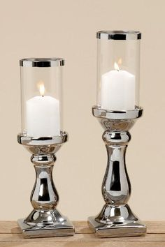 Windlicht, Kerzenständer mit Fuß Maseru, in silber, 1 Stück, ca. 9 cm x 9 cm x 36 cm
