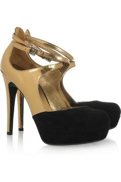 DKNY  Quinn metallic patent-leather and suede pumps