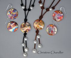 This listing is for a Pearl and Leather Lariat with a One of a Kind Flame Painted Copper piece. I Flame paint each piece of copper with a torch, and then seal it so it will not change with oxidation. Each piece is beautiful and unique. THE PHOTOS REPRESENT WHAT YOU WILL RECEIVE. You will have choices when ordering as to what colors you prefer to lean towards in the flame painted copper. You will also get to choose your leather color. Each Copper, Pearl and Leather Necklace is adjustable…