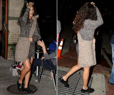 Rihanna works Stella McCartney's knitted jumper bag from her AW14 collection in New York