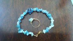 Buddha Aqua Quartzite Bracelet w/ Matching Ring by EMD