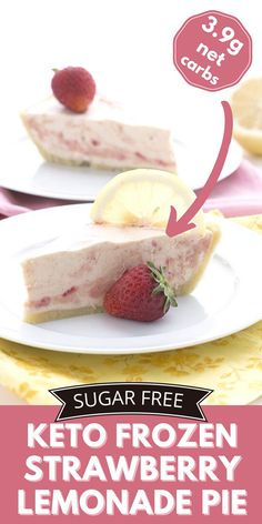 Creamy low carb strawberry lemonade filling in a no-bake almond flour crust. This might be the keto frozen dessert of your dreams this summer! Keto Dessert Easy, Low Carb Desserts, Frozen Desserts, Healthy Dessert Recipes, Low Carb Recipes, Diet Recipes, Mug Recipes, Sugar Free Recipes, Yummy Recipes