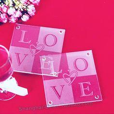 Love Glass Coaster  (set of 2pcs)