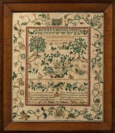 Lois Killam - Boxford, Massachusetts. circa 1820. plethora of pictorial work fills the interior, which is framed by a narrow red & gray sawtooth border, & the wide outer border.  Images such as the large birds perched on the roots of the two fruit trees, assorted bugs & large butterflies, birds pecking at baskets of fruit animate the sampler well. The great variety of arrangements of flowers, garlands of flowers & vining borders of flowers allow Lois to demonstrate her skill