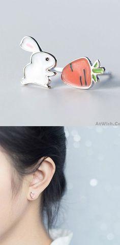 Funny Silver Cute Rabbit Asymmetric Carrot Earrings Summer Jewelry Earrings Studs for big sale! #jewelry #earrings #funny #rabbit #studs
