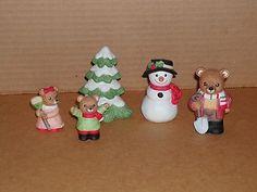 Homco Home Interior Bear Bears Porcelain Figurines Boy Girl Apples