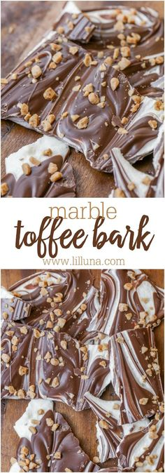 Easy Marble Bark - just a few ingredients to make this holiday classic that can be topped with dessert christmas crushed candy canes, toffee bits or nuts! Mini Desserts, Holiday Baking, Christmas Desserts, Christmas Treats, Christmas Baking, Just Desserts, Delicious Desserts, Thanksgiving Sides, Thanksgiving Desserts
