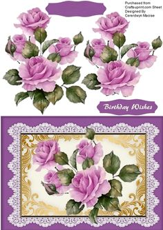 A lovely card with Beautiful Lilac roses on Vintage Lace has one greeting tag and a blank one
