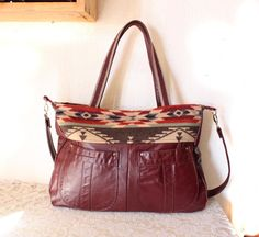 d5b3fecf9adc Repurposed Leather   Pendleton Wool Purse in Oxblood color Native Design