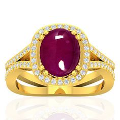 18k Y Gold 4.35 Cts Natural Blood Red Ruby Diamond Ladies Wedding Birthday Ring…
