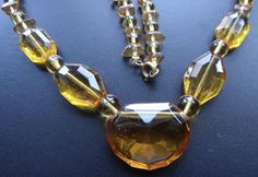vintage art deco amber glass geometric bead necklace -C221