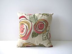 Mid century pillow/ vintage floral design pillow/ by margosmuse Designer Pillow, Vintage Pillows, Vintage Floral, Pink And Green, Floral Design, Cotton Fabric, Mid Century, Throw Pillows, Abstract
