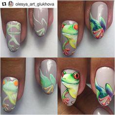 #Repost @olesya_art_glukhova (@get_repost) ・・・ Вариант забавного летнего  дизайна 🐸. все как всегда : гель-лаки и гель-краски , 2 кисти , минут 40 времени  и желание порадовать клиента 🤗