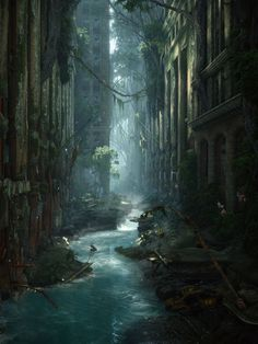 Concept Art City Post Apocalyptic Environment Ideas Concept Art City Post Apocalyptic EnvironmeYou can find Pos. Fantasy Kunst, 3d Fantasy, Fantasy City, Fantasy Places, Fantasy Setting, Fantasy World, Final Fantasy, Fantasy Castle, Dark Fantasy