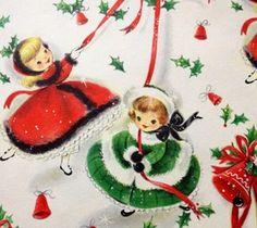Printable Christmas Wrapping Paper Digital Image Vintage Farmhouse Holiday