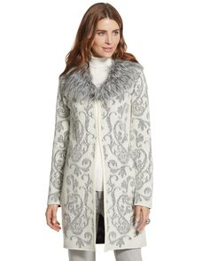 Chicos Womens Icy Fur Elsa Cardigan Sweater with Long Sleeves from Chico's on Catalog Spree, my personal digital mall.