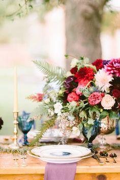 Rustic Blue and Berry Wedding Centerpiece | Brianna Wilbur Photography | http://heyweddinglady.com/modern-jewel-tones-cobalt-berry-copper/