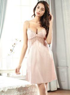 Women's Silk-like Sexy Deep V-neck Cami Top Lace Nightgown https://www.amazon.com/Womens-Silk-like-Adjustable-Spaghetti-Nightgowns/dp/B01GFSAU00?ie=UTF8&*Version*=1&*entries*=0
