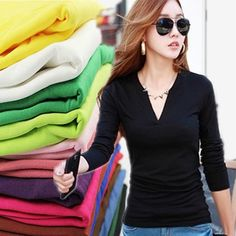 Basic Women V NECK Stretch Long Sleeve Girls Casual Solid T Shirt Tee Tops #T-Shirts #Women