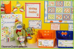 Who doesn't love sock monkeys? The Sock Monkey Classroom Theme Décor is so cheerful and whimsical in orange, yellow, green and blue.  Four cute sock monkeys adorn many of the items that kids are sure to love.  Their smiling little faces will brighten your room. There are lots of different designs that match perfectly and can be combined in many different ways to help you create your dream classroom!$ www.ClassroomInspirations.com