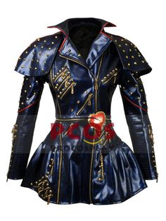 Kids Carlos Cameron Boyce Descendants 2 Synthetic Leather Jacket with Removable Arms Faux