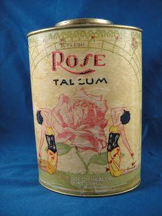 Rose talcum powder, display between the mirrors.