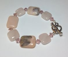 Pink Gemstone and Swarovski Crystals Bracelet by DesignsByJen1, $23.00