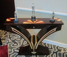 Art Deco 4 super table in different kind of wood. (French design, 1930's)