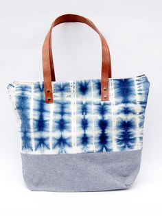 Bittle and Burley, XL Tote in Blue Tie-Dye Denim/Blue Denim, $150