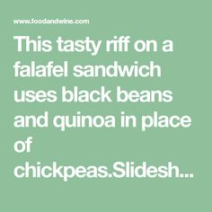 This tasty riff on a falafel sandwich uses black beans and quinoa in place of chickpeas.Slideshow: More Recipes for Quinoa Falafel Sandwich, Baked Falafel, Sandwich Recipes, Chickpeas, Black Beans, Quinoa, Sandwiches, Tasty, Baking