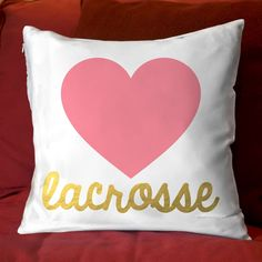 Do you heart lacrosse? Then you will love this NEW girls lacrosse decorative pillow design! It makes an awesome lacrosse gift for any lax girl!