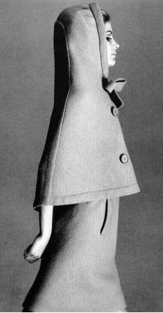 1965 Pierre Cardin A hooded cape over a coat would be great on very cold days. Make it in red - Little Red Riding Hood!  :)