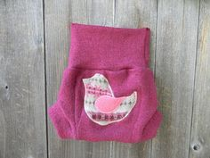 Upcycled wool soaker cover,diaper cover. Medium thick wool.Great for night time. Pink color soaker cover with birdy applique on the bum. Double layer