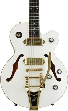 Semi-hollowbody Electric Guitar with Mahogany Body, Maple Top, Maple Neck, Rosewood Fingerboard, and 2 Single-coil Pickups - Pearl White