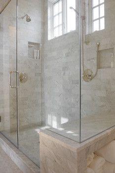 Shower and seat, frameless glass shower doors, high ceilings