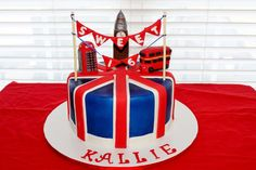 Union Jack Cake This was for a Sweet 16 party. The young lady is really into the Union Jack flag and England. The phone booth and Big Ben...