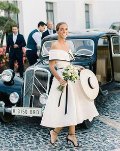 Stylish court wedding look inspiration. Photography @patricialyonsphotography Dress @adrianariveradesign Hat @mimokishop @delriverodesignco Florals @susana__sanchez Decor @a_tipica #BellaNaijaWeddings