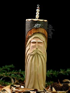 Hand Carved Oregon Alder Christmas Ornament Santa by elkfeathers, $18.00