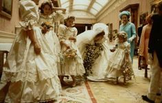 Lady Diana Spencer with her bridesmaids...and the Queen