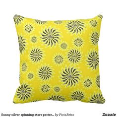 Sunny silver spinning stars pattern yellow pillow