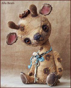 By Alla Bears Vintage Giraffe artist Old Teddy Bear art doll OOAK prim handmade…