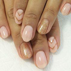 Pink Nude and Rose Gold #nudenails #rosegoldnails #chevronnails #naturalnails…