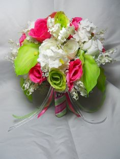 Wedding Bouquet Boutonniere Keylime Green Watermelon Pink And White