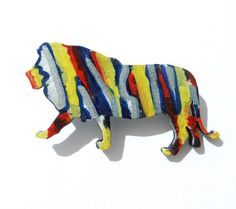Lion Animal Brooch, Hand Painted Brooch, Blue Red Yellow, Original Abstract Wooden Brooch, Wearable Fine Art Jewelry, Wood Painting, OOAK