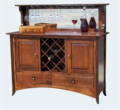 Shaker Hill Wine Buffet features mirrored backsplash and solid hardwood construction. Choose your wood and finish. Made in the USA by Amish craftsmen. Dining Corner, Dining Hutch, Dining Buffet, Dining Chairs, Amish Furniture, Solid Wood Furniture, Custom Furniture, Furniture Making, Furniture Ideas