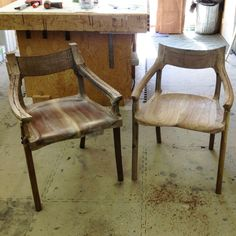 This picture from 2013 was taken during my 1on1 build your own chair course. I just completed the initial rough power carving revealing a Sam Maloof style low back chair, now it's time for my student to do the same!